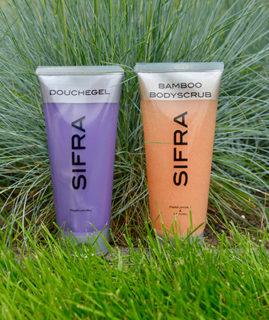 Aanbieding Bodyscrub Bamboo en Parfumvrije douchegel
